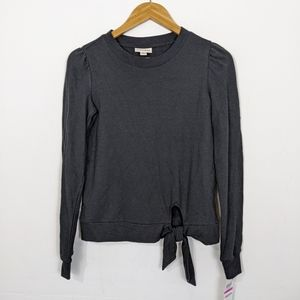 Maison Jules Black Knot Front Long Sleeve Top